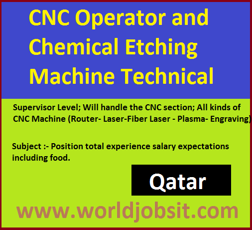 CNC Operator and Chemical Etching Machine Technical