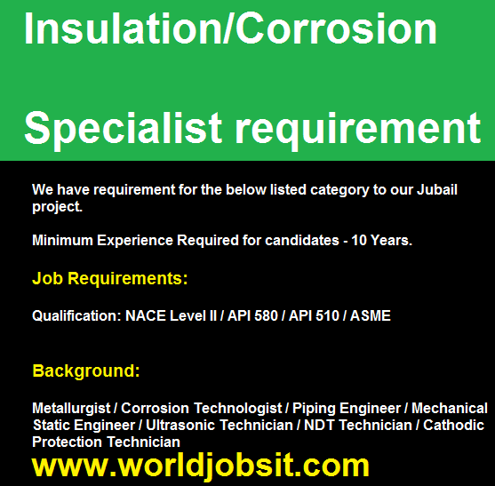 Insulation/Corrosion Specialist requirement