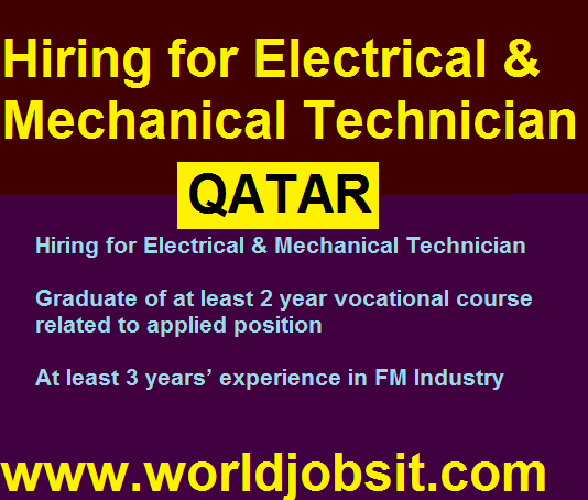 Hiring for Electrical & Mechanical Technician