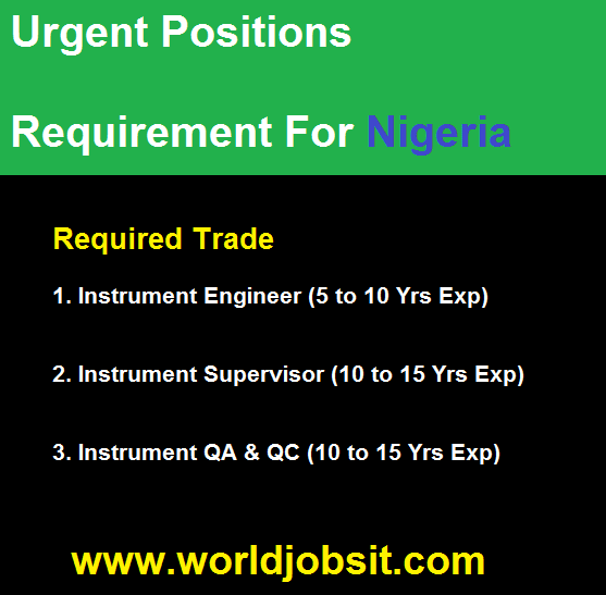 Urgent Positions Requirement For Nigeria