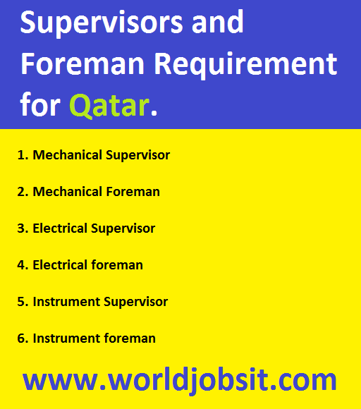 Supervisors and Foreman Requirement for Qatar.