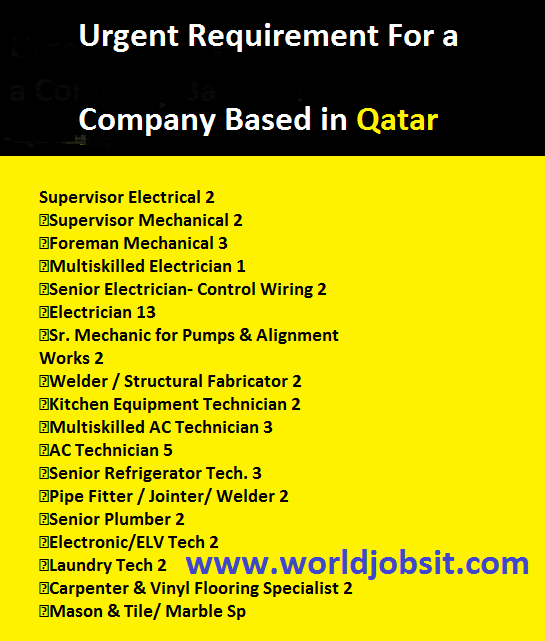 Urgent Requirement For a Company Based in Qatar