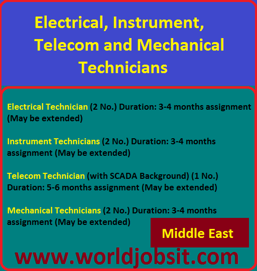 Electrical, Instrument, Telecom and Mechanical Techs