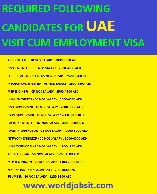 REQUIRED FOLLOWING CANDIDATES FOR UAE