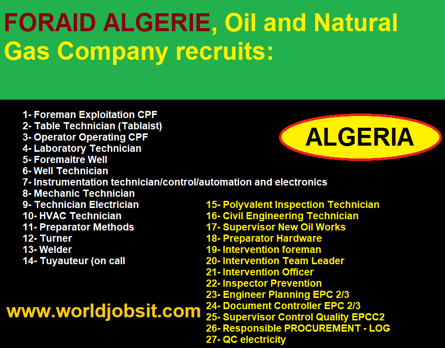 FORAID ALGERIE, Oil and Gas Company recruits: