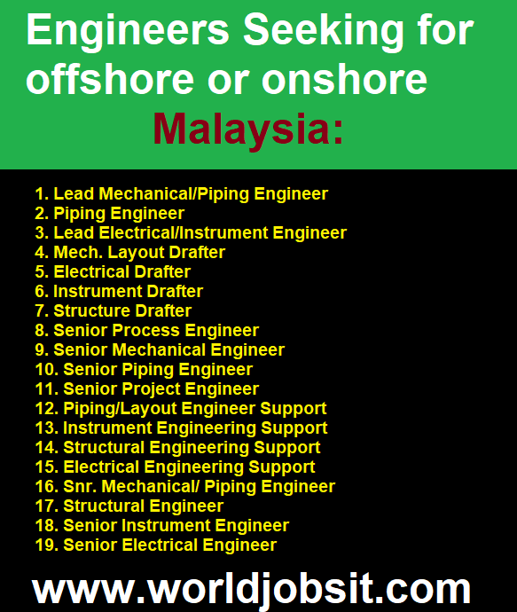 Engineers Seeking for offshore or onshore Malaysia: