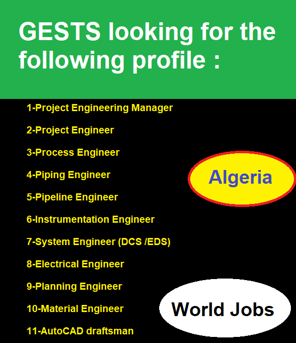 GESTS looking for the following profile : engineers