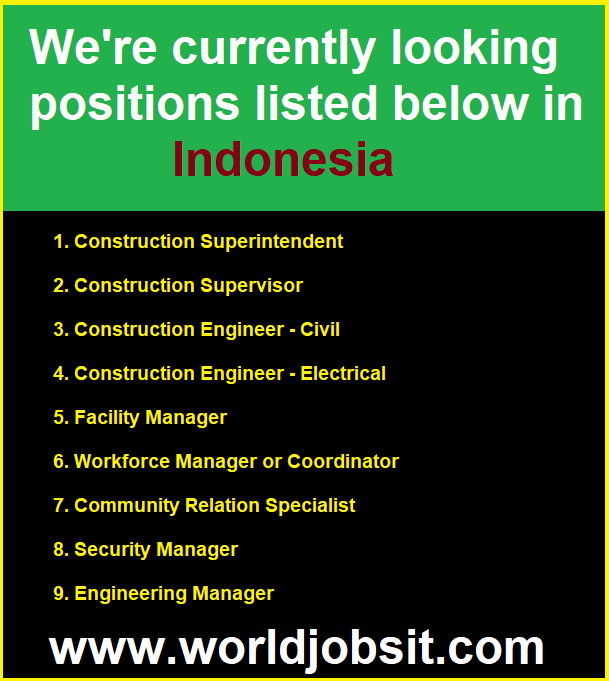 We're currently looking positions listed below in Indonesia