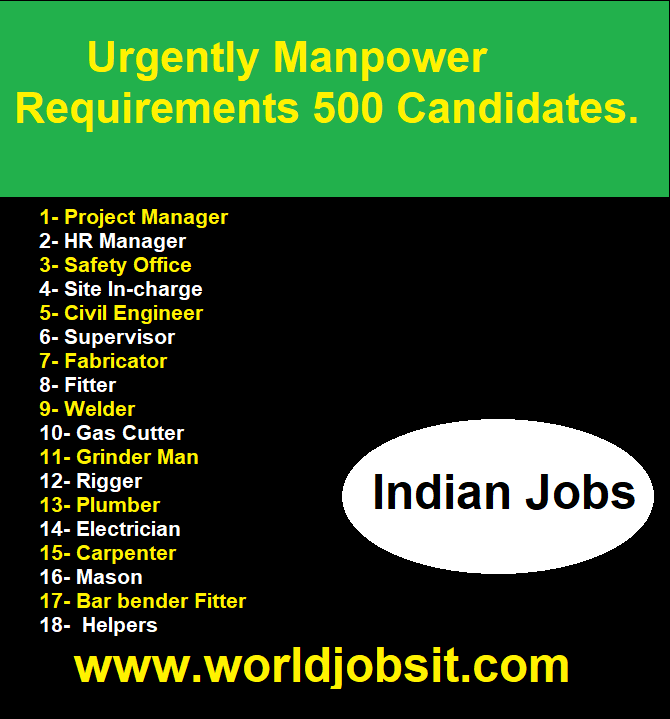 Urgently Manpower Requirements 500 Candidates.