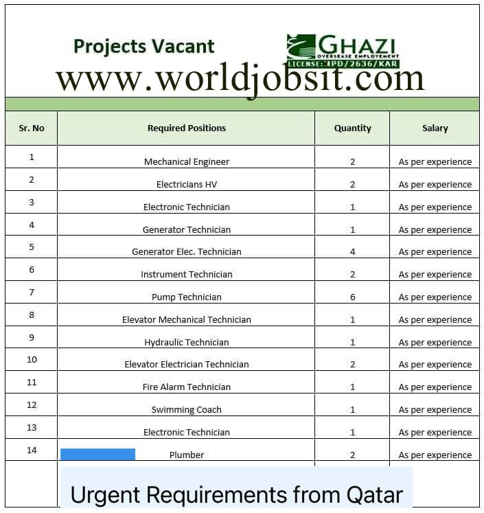 Urgent Requirements Projects Vacant from Qatar