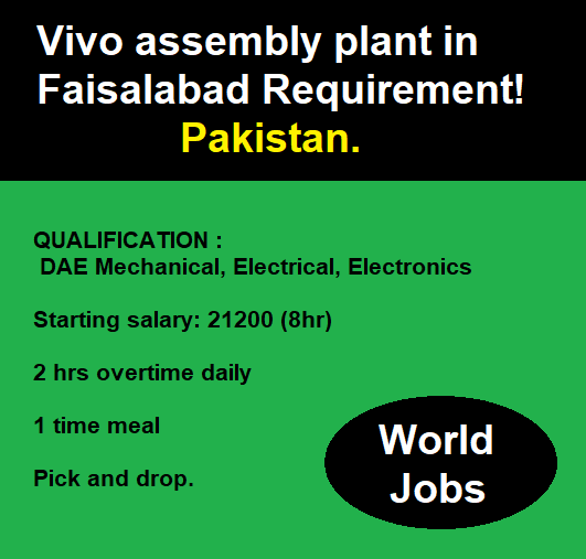 Vivo assembly plant in Faisalabad Requirement! Pakistan.
