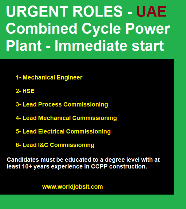 URGENT ROLES - UAE Combined Cycle Power Plant