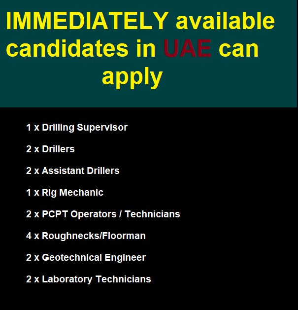 IMMEDIATELY available candidates in UAE can apply