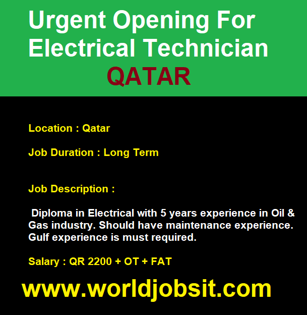 Urgent Opening For Electrical Technician