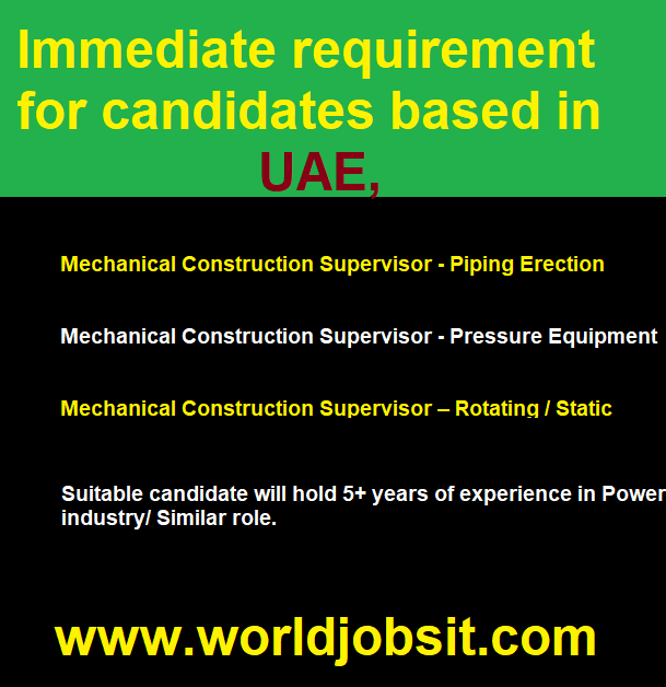 Immediate requirement for candidates based in UAE,