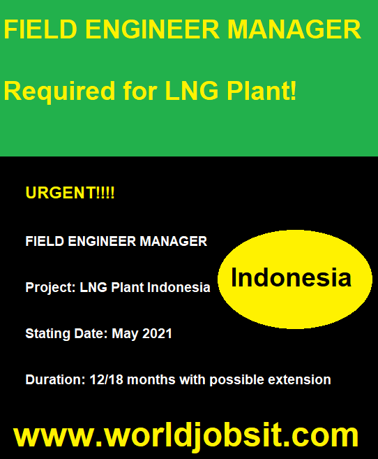 FIELD ENGINEER MANAGER Required for LNG Plant