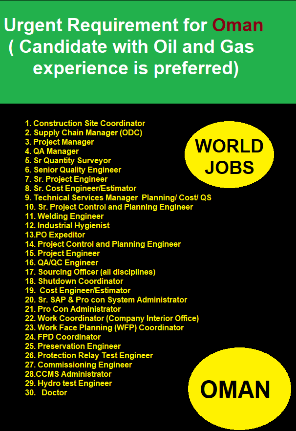 Candidate with Oil and Gas experience is preferred