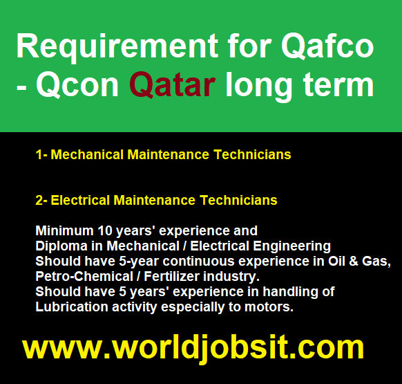 Requirement for Qafco - Qcon Qatar long term