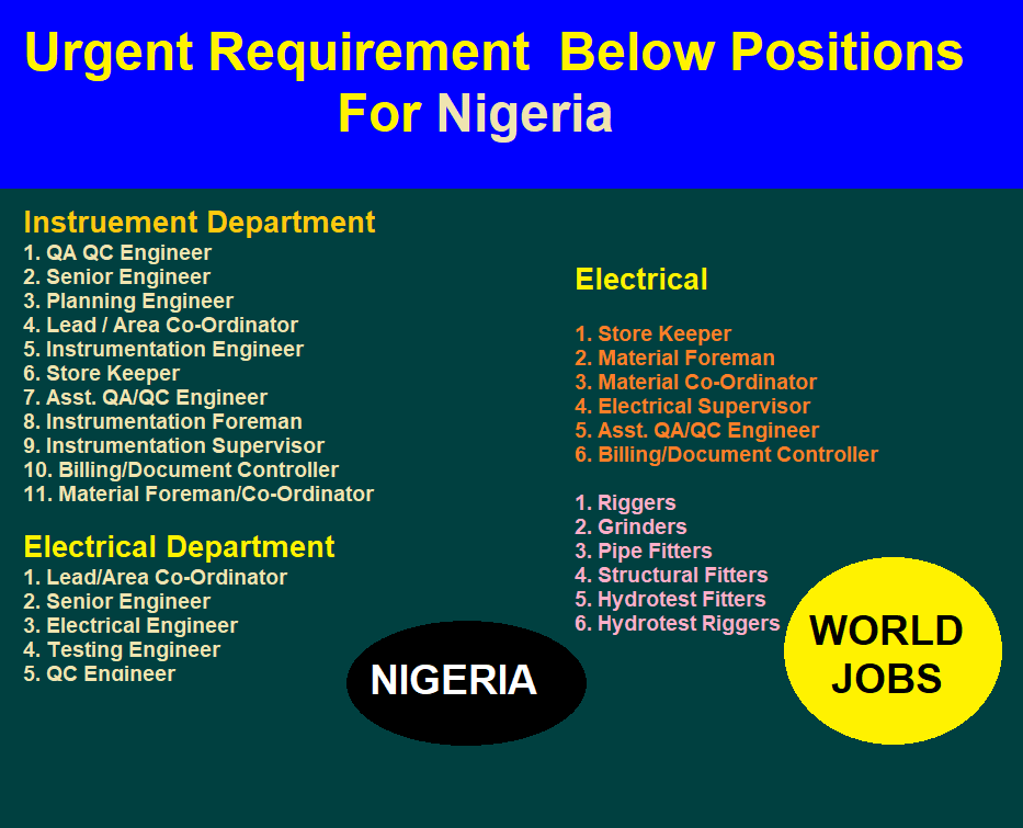 Urgent Requirement  Below Positions For Nigeria