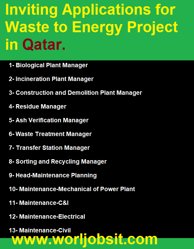 Inviting Applications for Waste to Energy Project in Qatar.