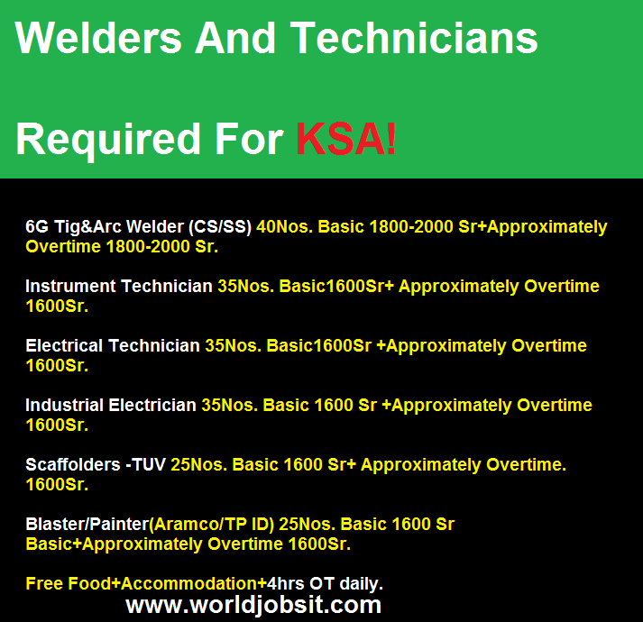 Welders And Technicians Required For KSA!