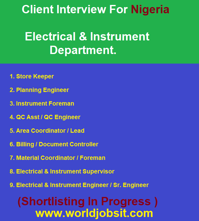 Client Interview For Nigeria  Electrical & Instrument.