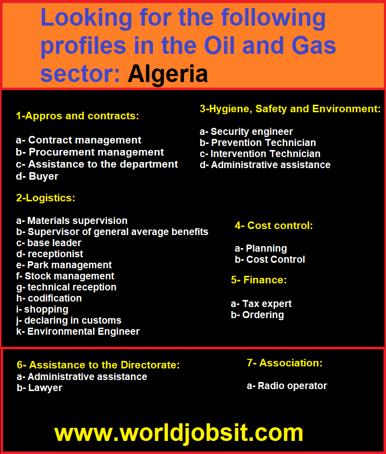 Looking for the following profiles in the Oil and Gas sector: