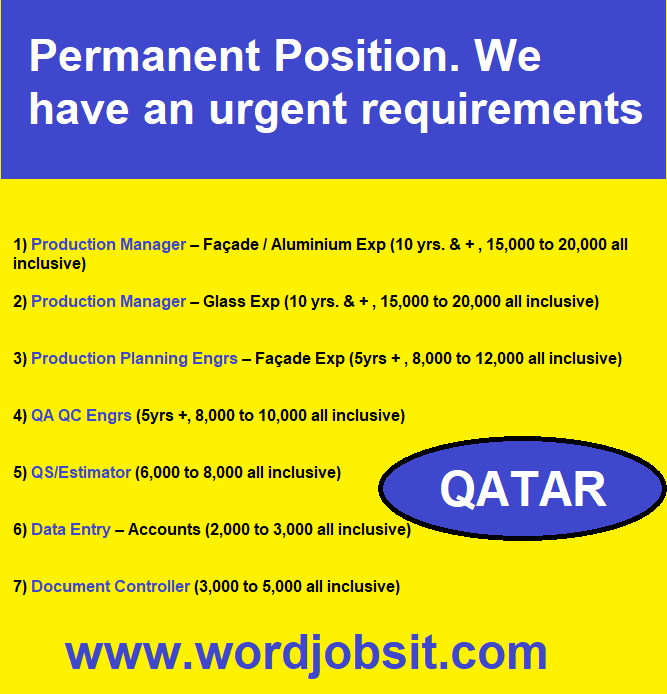 Permanent Position. We have an urgent requirements