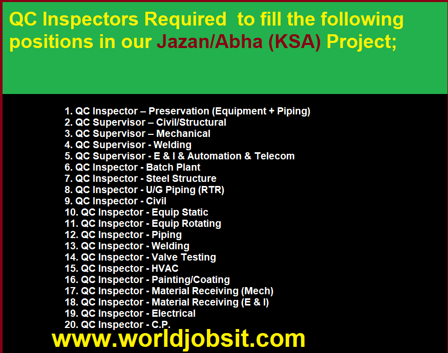 QC Inspectors Required  to fill the following positions