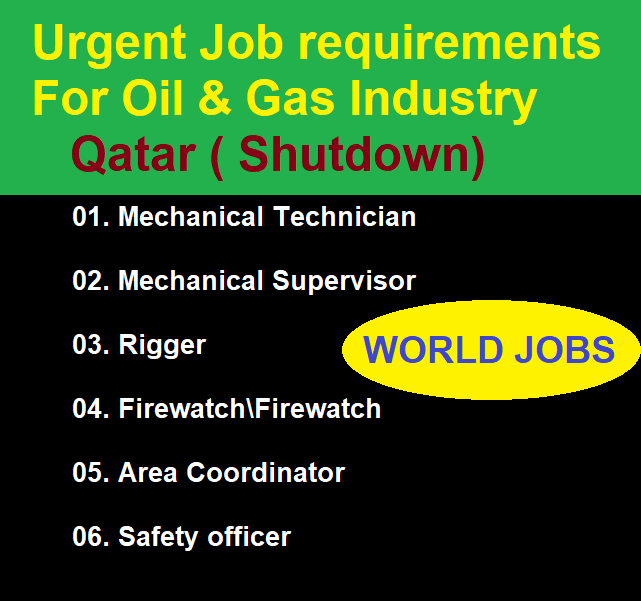 Urgent Job requirements For Oil & Gas Industry Qatar