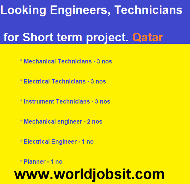 Looking Engineers, Technicians for Short term project