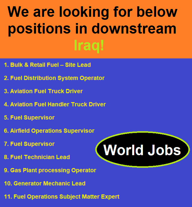We are looking for below positions in downstream Iraq!