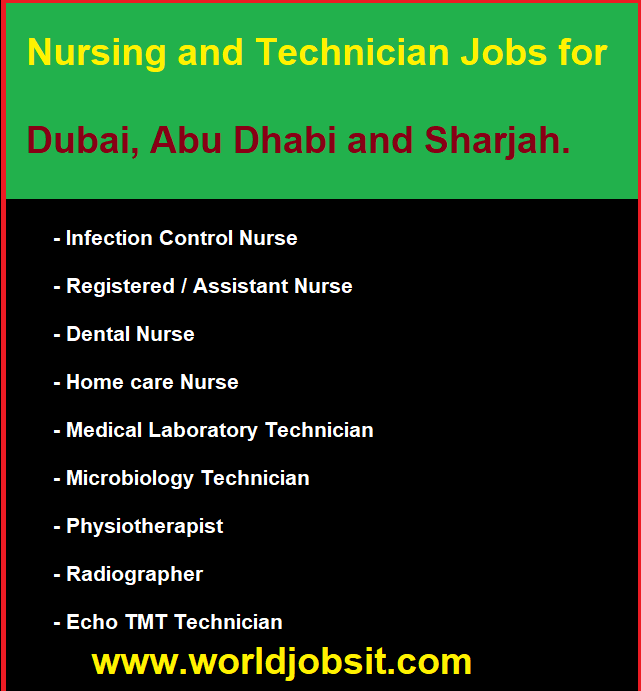 Nursing and Technician Jobs for UAE.