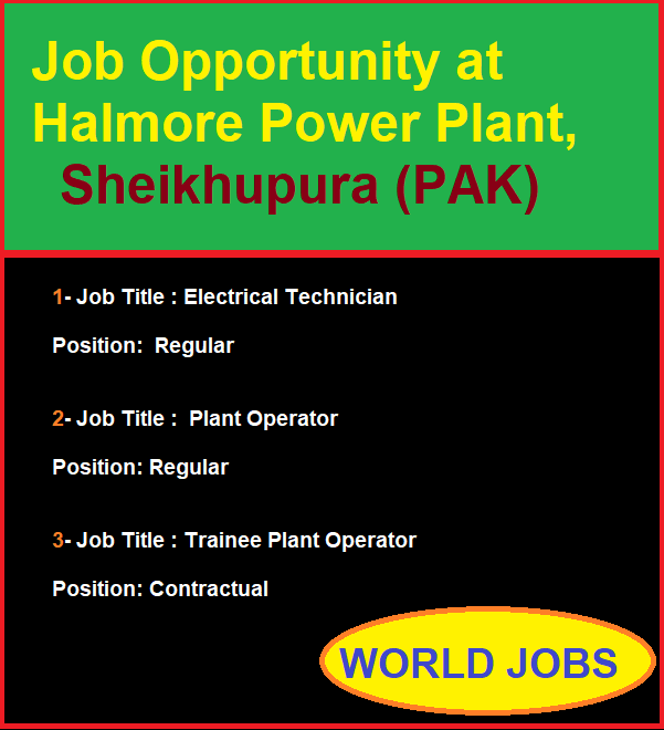 Job Opportunity at Halmore Power Plant, Sheikhupura