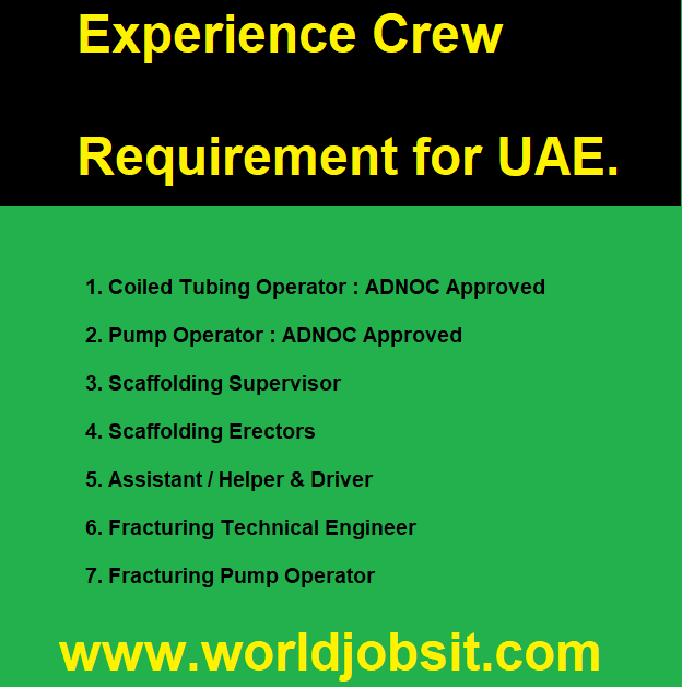 Experience Crew Requirement for UAE.