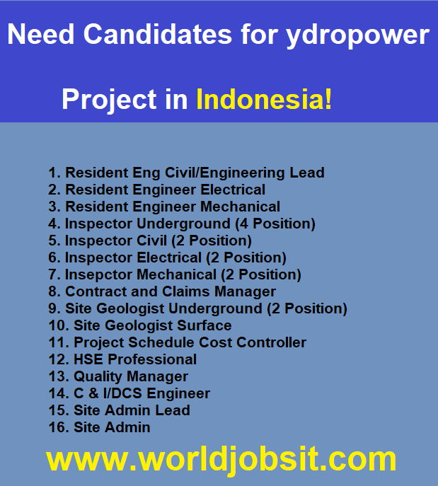 Need Candidates for Hydropower Project in Indonesia!