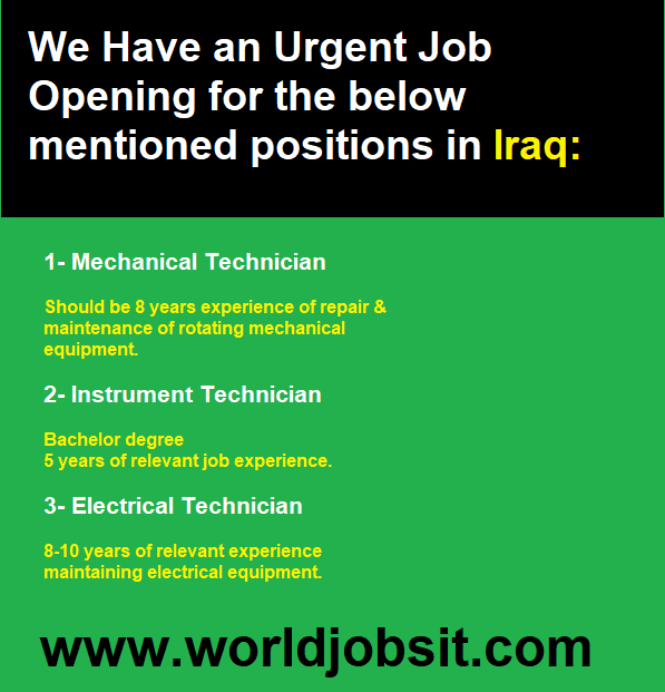 Urgent Job Opening positions in Iraq: