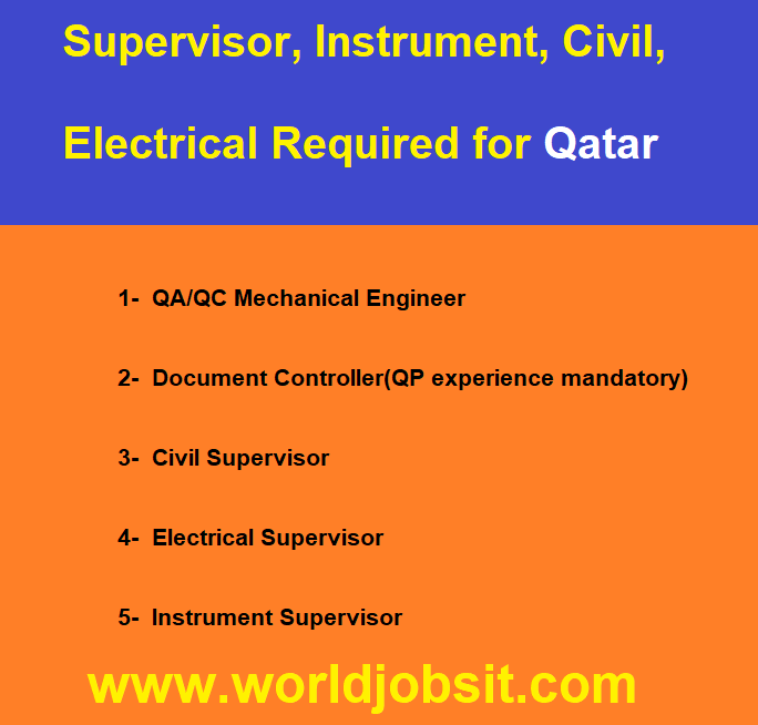 Supervisor, Instrument, Civil, Electrical Required for Qatar
