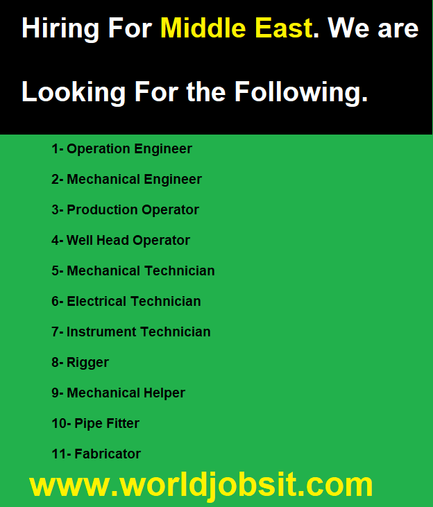 Hiring For Middle East. We are Looking For the Following.