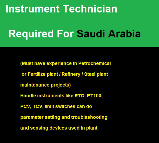 Instrument Technician Required For Saudi Arabia