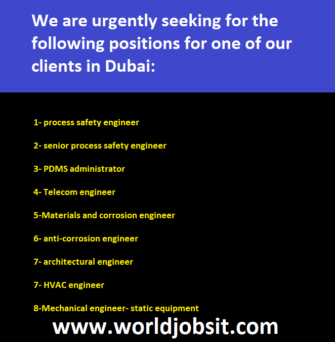 Following Positions Required for Dubai:
