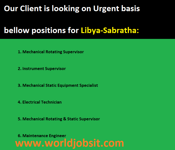 Looking on Urgent basis bellow positions for Libya