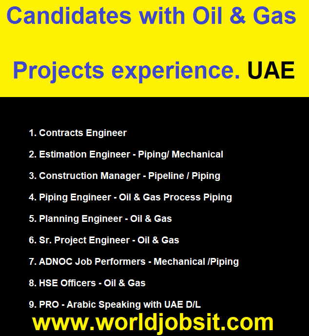 Candidates with Oil & Gas Projects experience.