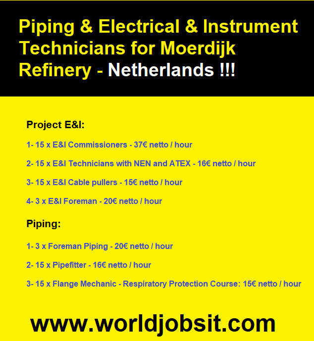 Piping & Electrical Instrument Technicians for Netherland