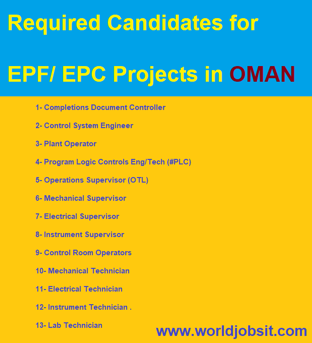 Required Candidates for EPF/ EPC Projects in OMAN.