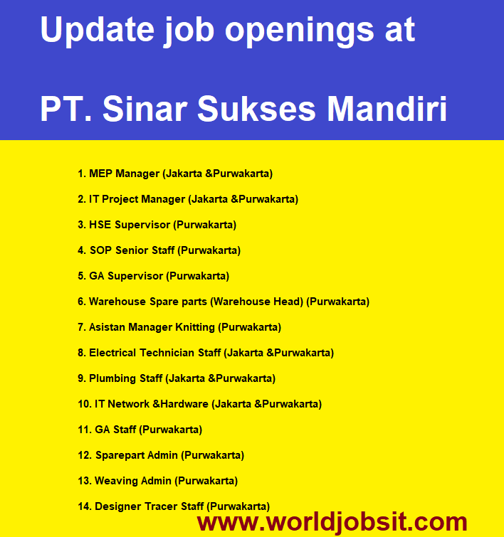 Update job openings at PT. Sinar Sukses Mandiri