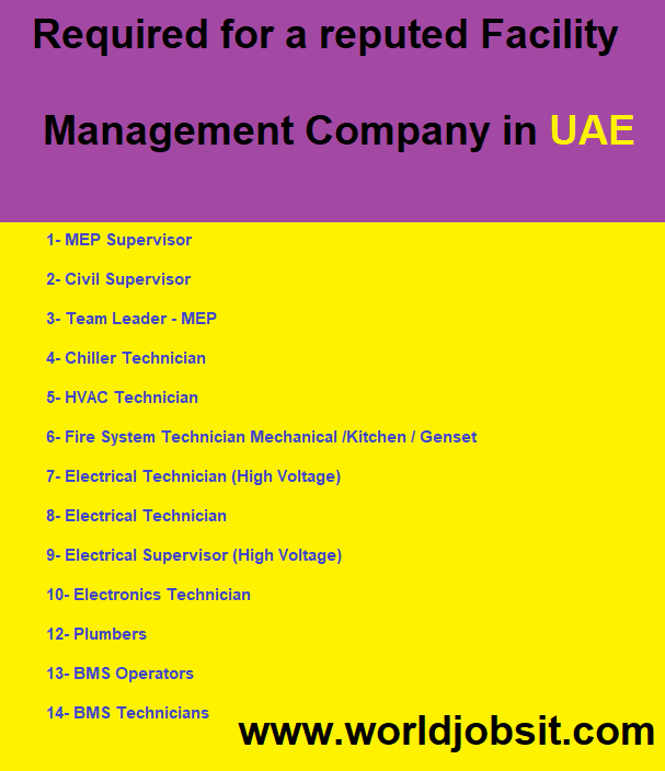 Required for a reputed Management Company in UAE