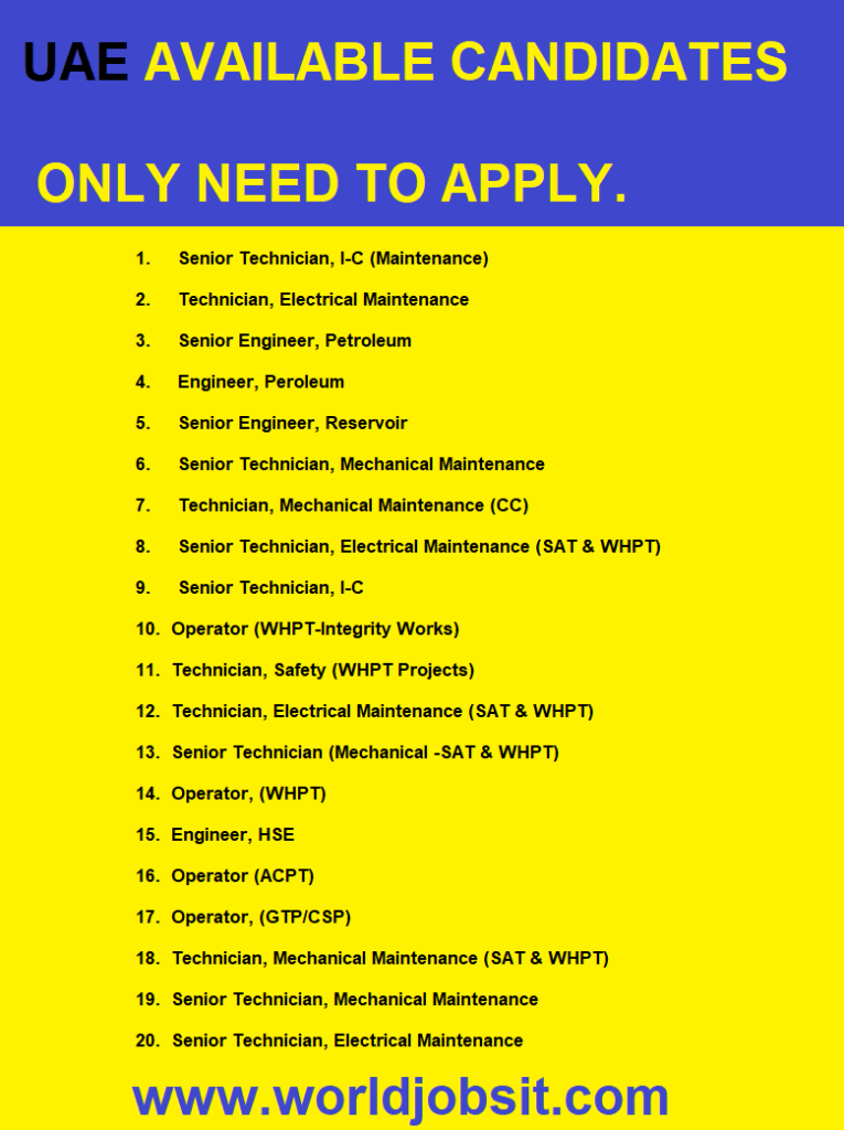 UAE AVAILABLE CANDIDATES ONLY NEED TO APPLY.