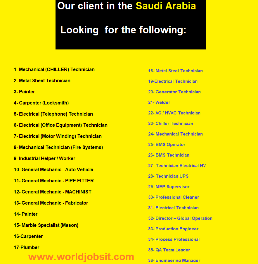 Our client in the Saudi Arabia Looking  for the following: