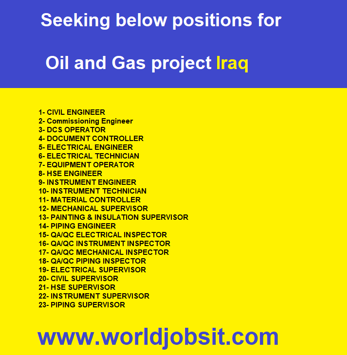 Seeking below positions for Oil and Gas project Iraq